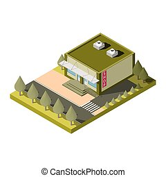 Vector isolated isometric shop building icon. EPS 10 -...