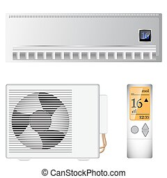 split air conditioner on the wall and outside device