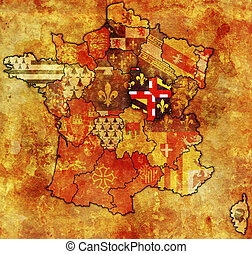 Burgundy on old map of france with flags of administrative...