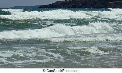 Sea storm off Rocky Coastline - Small sea storm off the...