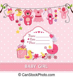 New born baby girl card shower invitation template - New...