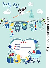 New born baby boy card shower invitation - New born Baby boy...