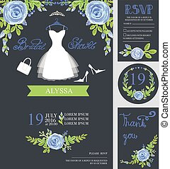 Wedding invitationWatercolor blue flowers,Bride dressBridal...