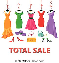 Colored summer dresses and accessories set.Sale - Woman...