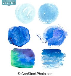Watercolor splashBlue,cyan ocean,sea,sky colors - Watercolor...