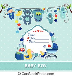 New born baby boy card shower invitation template - New born...