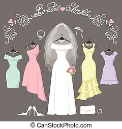 Bridal and bridesmaid dresses.Fashion background - Wedding...