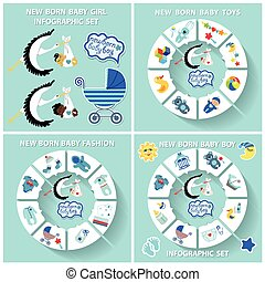 New born baby boy circle infographic set - New born Baby boy...