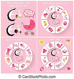 New born baby girl circle infographic set