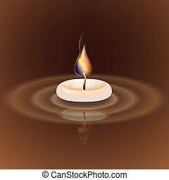 Vector illustration with candle on a brown background