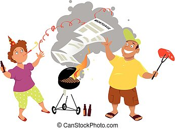 Mortgage burning party - Middle age couple having a...
