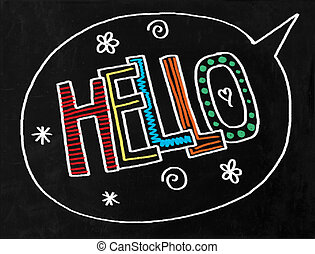 Hello Chalkboard Text - A digitally created chalkboard with...