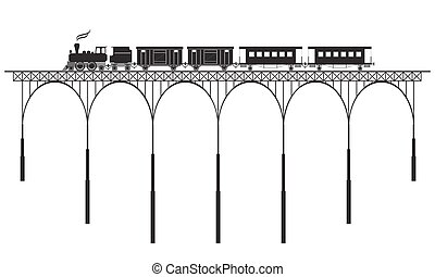 openwork bridge and locomotive - black openwork bridge and...