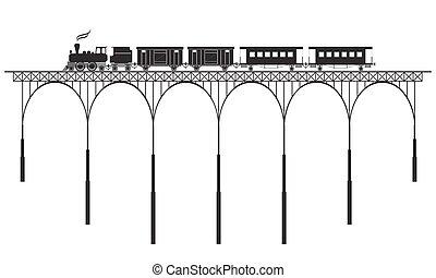 openwork bridge and locomotive - black openwork bridge and...