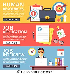 Human resources, job application, job interview flat...