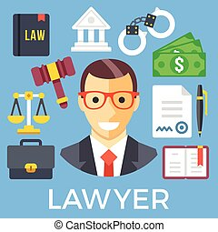 Lawyer and judicial system icon set - Lawyer and judicial...