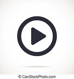 Vector play icon. Black play button