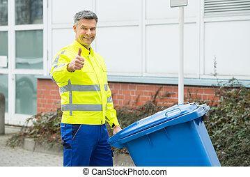 trabalhando, homem, segurando, dustbin, ligado, rua,