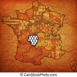 Limousin on old map of france with flags of administrative...