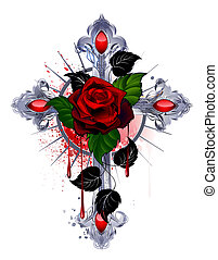 Cross with a Red Rose