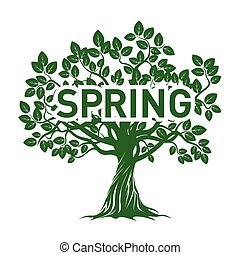 Green Apple Tree and SPRING. Vector Illustration.
