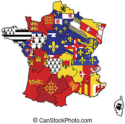 administrative map of france - old map of france with flags...