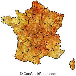 mapa, administrativo, francia