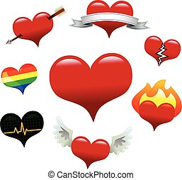 ollection of vector heart icons: basic heart, banner heart,...