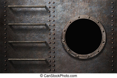 metal submarine or ship side with stairs and porthole -...