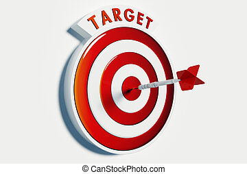 Target and Success - Dart hitting the bullseye of a red...