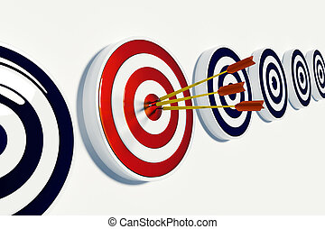 Target And Success - Darts hitting the bullseye of a right...