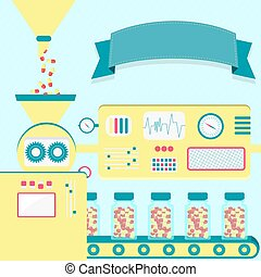 Vector pills production - Vector illustration of factory...
