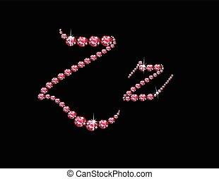 Zz Ruby Script Jeweled Font - Zz in stunning Ruby Script...