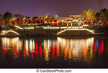Chinese Gate Grand Canal Buildings NIght Reflection Hangzhou...