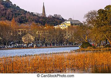Ancient Baochu Pagoda West Lake Hangzhou Zhejiang China