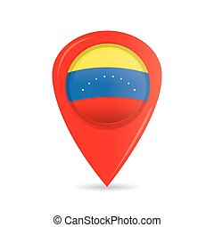 Flag - Isolated pin with the venezuelan flag on a white...