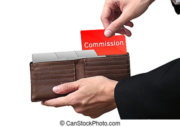 Businessman hands pulling red folder COMMISSION concept on brown wallet.
