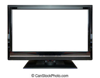 LCD Television monitor isolated on white background.