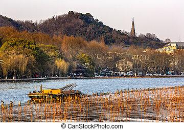 Ancient Baochu Pagoda Yellow Boat West Lake Hangzhou Zhejiang China