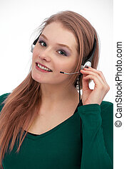Customer service with smile - Closeup of a beautiful, young...