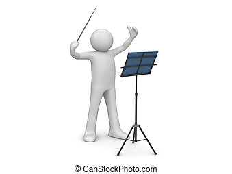 Conductor - 3d characters isolated on white background...