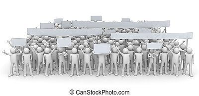 Demonstration - huge crowd - 3d characters isolated on white...