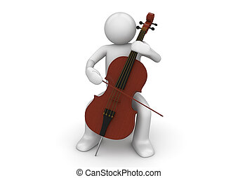Cellist - 3d characters isolated on white background series