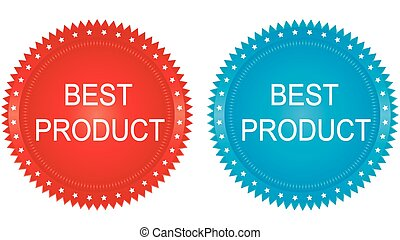 Best Product Badges set in red and blue tones