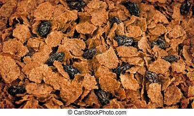 Cereal Flakes And Raisins Rotate - Toasted cereal flakes and...