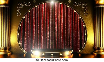 opening red curtain stage with golden podium and lights