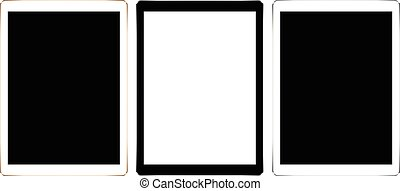 mock up digital tablet collection set isolated on white vector design