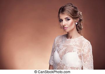 美麗, 布朗, 工作室, 背景, 新娘