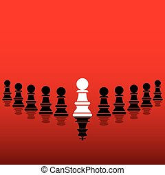 leadership concept design - white pawn become leader show to...