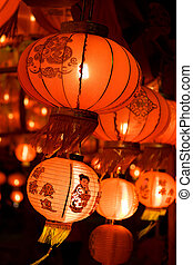 Chinese lanterns at night , Chinese New Year decorations...